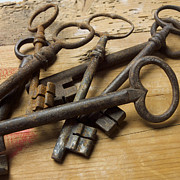 Old Objects Metal Prints - Old keys Metal Print by Bernard Jaubert