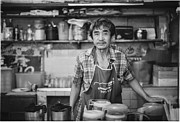 Film Maker Prints - Old Man Making Classic Coffee In Traditional Style Print by Setsiri Silapasuwanchai