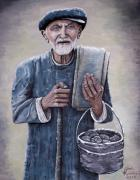 Old Man Art - Old Man with His Stones by Judy Kirouac