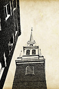 Blue Brick Prints - Old North Church in Boston Print by Elena Elisseeva