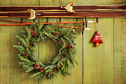 Antique Art - Old pair of skis hanging with wreath by Sandra Cunningham