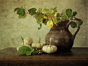 Antique Pitcher Posters - Old pitcher with gourds Poster by Sandra Cunningham