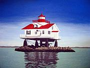 North American Lighthouses - Paintings By Frederic Kohli - Old Plantation Flats Lighthouse by Frederic Kohli
