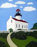 Lighthouse Images Paintings - Old Point Loma Lighthouse by Frederic Kohli