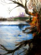 Color Pencil And Pencil Drawings - Old Rhine Near Speyer by Allen n Lehman