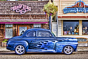 Bright Blue Framed Prints - Old Roadster - Blue Framed Print by Carol Leigh