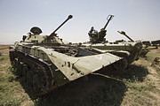 Russian Civil War Prints - Old Russian Bmp-1 Infantry Fighting Print by Terry Moore