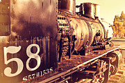 Old Postcards Prints - Old Steam Locomotive Engine 1258 . 7D10467 Print by Wingsdomain Art and Photography