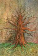 Symbolism Pastels - Old Tree by Wojtek Kowalski