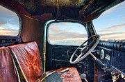 Truck Photo Posters - Old Truck Interior Poster by Tim Fleming