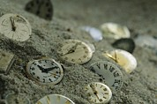 Timepieces Posters - Old Watch Faces In Sand.  The Sands Poster by Joel Sartore