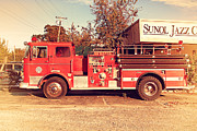 Old Postcards Prints - Old Whitney Seagrave Fire Engine At The Sunol Jazz Cafe In Sunol California . 7D10785 Print by Wingsdomain Art and Photography