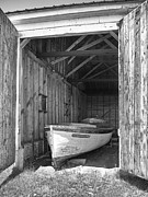 Boat Shed Prints - Old Wooden Boat Print by Brian Mollenkopf