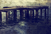 Wooden Stairs Metal Prints - Old Wooden Pier With Stairs Into The Lake Metal Print by Joana Kruse