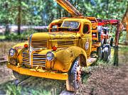 Grill Digital Art - Old yellow Dodge  by Peter Schumacher