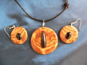 Wood Necklace Jewelry - Olive wood necklace and earring set by Eric Kempson