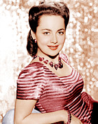 Striped Dress Art - Olivia De Havilland, Ca. 1942 by Everett
