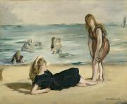 Playing On The Beach Posters - On the Beach Poster by Edouard Manet