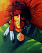 Contemporary Native American Posters - One Eye Poster by Lance Headlee