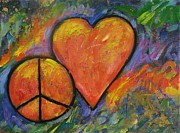 Abstract Heart Paintings - One Peace One Heart by Carol Suzanne Niebuhr