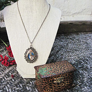 Open Jewelry - Open Metal Locket Necklace With Hand Painted Leopard  by Carrie Jackson