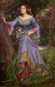 Blue Dress Posters - Ophelia Poster by John William Waterhouse