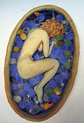 Clay Reliefs Framed Prints - Ophelia making it as far as the bird bath Framed Print by Shivaun McSheehy