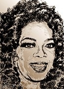 Author Mixed Media Prints - Oprah Winfrey in 2007 Print by J McCombie