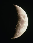Waxing Moon Posters - Optical Image Of A Waxing Crescent Moon Poster by John Sanford