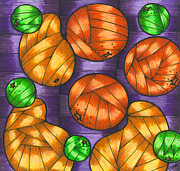 Food And Beverage Drawings Posters - Oranges lemons and mangos Poster by Hilda Tovar