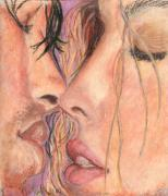 Canada Art Pastels Prints - Original Oil Pastel Beautiful Male and Female Hot Kiss Print by Natalia Krestianinova