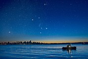 Burrard Inlet Photo Posters - Orion Over Vancouver, Canada Poster by David Nunuk