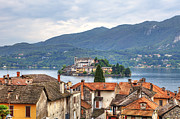 Old Houses Photo Metal Prints - Orta - overlooking the island of San Giulio Metal Print by Joana Kruse