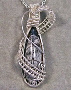 Grey Black Jewelry - Orthoceras Fossil and Silver Pendant-Necklace by Heather Jordan