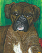 Boxer Portrait Paintings - Oscar the Boxer by Ania M Milo