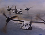 Helicopters Paintings - Ospreys Over the New River Inlet by Stephen Roberson