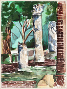 Columns Drawings Metal Prints - Ostia Antica Metal Print by Mindy Newman