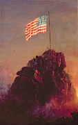 Patriotic Painting Posters - Our Flag Poster by Frederic Edwin Church