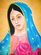 Catholic Pastels Prints - Our Lady of Guadelupe Print by Dolores Aragon