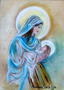 Virgin Mary Painting Originals - Our Marys Love by Annamarie Sidella-Felts
