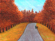 People Pastels Posters - Out for a Walk Poster by Ginny Neece