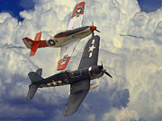 P51 Mustang Digital Art Posters - Over the Clouds Poster by Stefan Kuhn