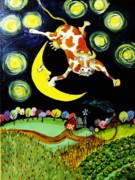 Nursery Rhyme Painting Metal Prints - Over the Moon Metal Print by Tex Norman