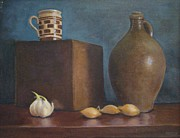 Stoneware Paintings - Ovoid jug with garlic and shallots by Mark Haley