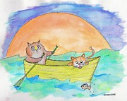 Nursery Rhyme Drawings - Owl and Pussycat by Marybeth Friel-Patton