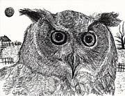 Cardstock Drawings Prints - Owl  Print by Jon Baldwin  Art