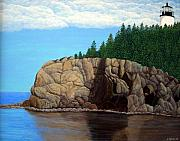 Landscapes Painting Prints - Owls Head Lighthouse Print by Frederic Kohli