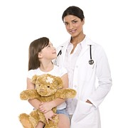 Medicine Bear Prints - Paediatric Doctor And Patient Print by