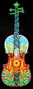 Pods Mixed Media Framed Prints - Painted Violin Framed Print by Elizabeth Elequin