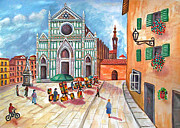 Florence Art - Painters in the Piazza  by Ronald Haber